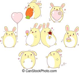 Set of cute rabbits in kawaii style