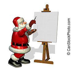Santa Painting - A cartoon Santa is about to paint on a...