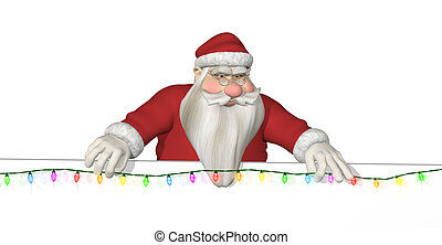 Santa Hangs Lights Across a Border