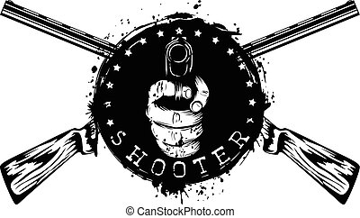 rifle pistol - Vector illustration two crossed rifles and...