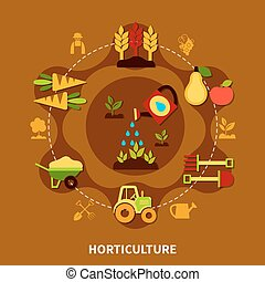 Horticulture Icons Circle Composition - Agriculture round...