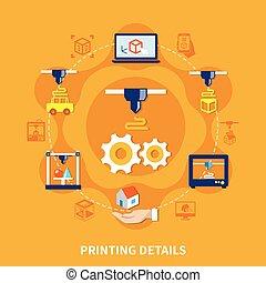 Details For 3d Printer On Orange Background - Printing...