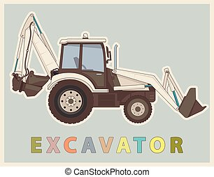 Vector low poly digger in retro style color. Vintage...