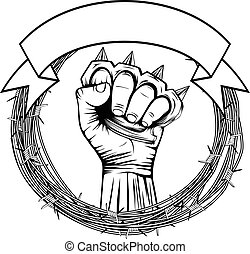 knuckle - Vector illustration barbed wire and hand with...