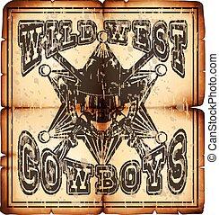 wild west skull paper var 1 - Vector illustration skull in...
