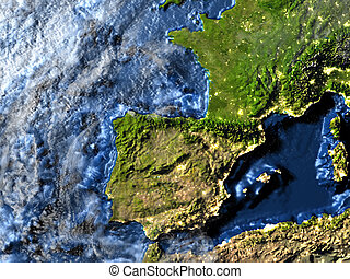 Iberia on Earth at night - visible ocean floor - Iberia on...