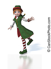 Cute Christmas Elf Ice Skating - A cute Christmas Elf enjoys...