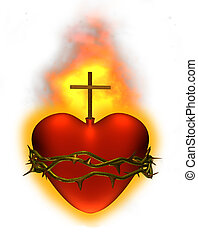 Sacred Heart - The sacred heart of Jesus - 3D render.