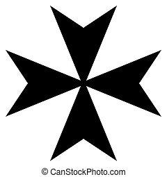 Maltese Cross - Black silhouetted Maltese cross, isolated on...