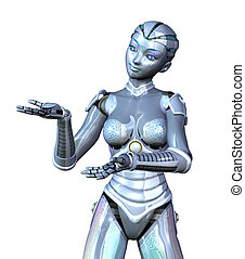 Female Robot Presenting Your Product - 3D render featuring a...