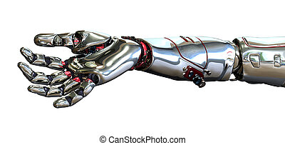 Robot Hand - 3D render of a robot hand, positioned as if it...