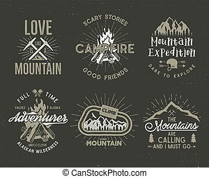 Set of mountain and scouting badges. Climbing labels,...