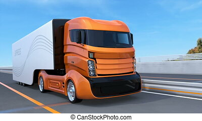 Orange self driving truck on the highway. 3D rendering...