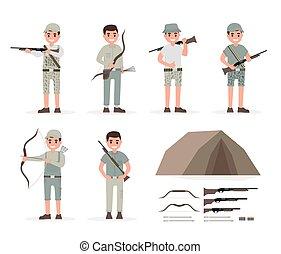 Hunter, huntsman, gamekeeper, forester and archer elements...