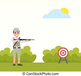 Happy hunter shoots at the target. Vector huntsman,...