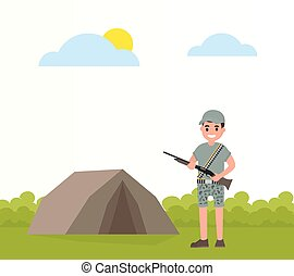 Happy hunter stands near the tent stand with weapons. Vector...