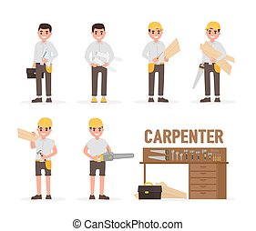 Carpenter, joiner, foreman, engineer and woodworker elements...