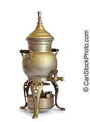 Antique coffeepot with spirit lamp isolated on a white...