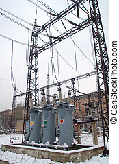 Electric Power Substation - High voltage equipment at power...