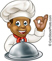Black Chef Cartoon Character Mascot - Cartoon black chef or...