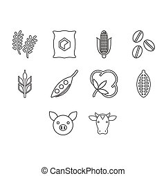 Thin line commodities icon set - collection of commodities...