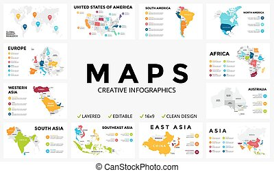 Vector map infographic. Slide presentation. Global business marketing concept. Color country. World transportation geography data. Economic statistic template. World, America, Africa, Europe, Asia, Australia, USA.