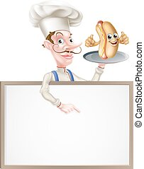 Hotdog Cartoon Chef Signboard