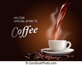 pour hot coffee into coffee cup, brown background, 3d...