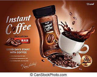 instant coffee ad, with coffee splash elements, brown...