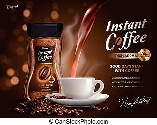 instant coffee ad, with coffee flow elements, bokeh...