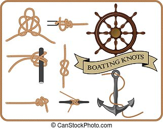 boating knots - set of isolated boating knots on white...