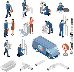 Plumber Isometric Icons Set - Plumber isometric icons set...