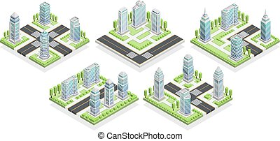 City Houses Isometric Composition - City houses isometric...
