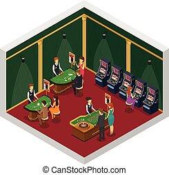 Casino Isometric Interior Composition - Colored casino...
