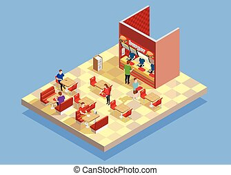 Food Court Counter Area Isometric Composition - Food court...