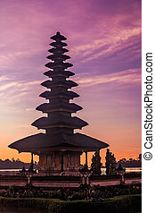 Ulun Danu Temple on the shore of Lake Brataan in Bali in...