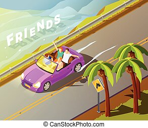 Friends Riding Car Isometric Travel Poster - Friends...