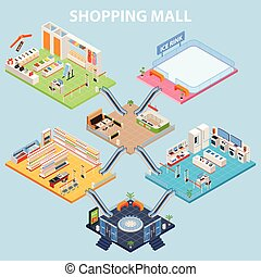 Isometric Plaza Interior Concept - Shopping mall background...
