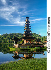 Ulun Danu Temple on the shore of Lake Brataan in Bali in...