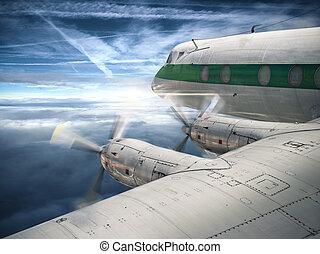 Old airplane in flight