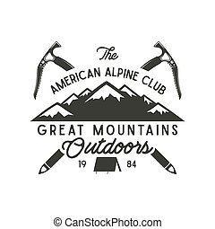 Climbing t-shirt design. Hand drawn vintage alpine label...