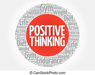 Positive thinking circle stamp word cloud, health concept