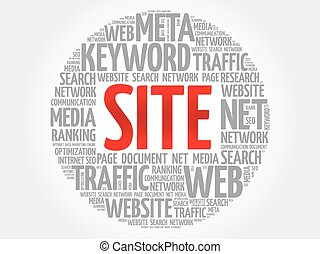 SITE word cloud collage, business concept background