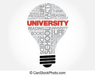 UNIVERSITY bulb word cloud concept