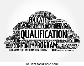Qualification word cloud collage, education concept...
