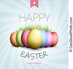Easter Card - Grunge Easter card with eggs, grass,...