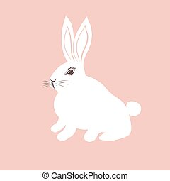 Cute white Bunny on pink background. Vector illustration for easter cards, baby textile, poster, banner design.