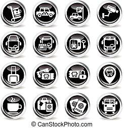 bus station icon set - bus station icons on stylish round...
