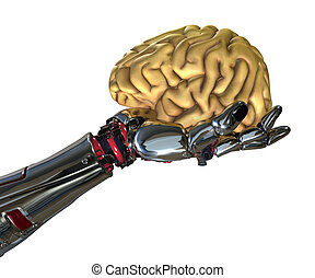 Robot Hand Holding Human Brain - A robotic hand holds a...