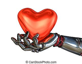 Robot Hand Holding Heart - A robot hand holds a heart - 3D...